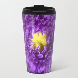 Bright Purple and Yellow Mum Flowers Travel Mug