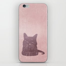 Happy purple cat illustration on pink for girls iPhone Skin