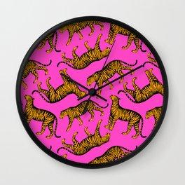 Tigers (Magenta and Marigold) Wall Clock