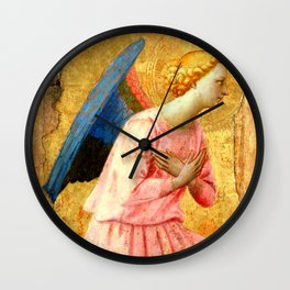 """Fra Angelico (Guido di Pietro) """"Adoring Angel, Looking Right"""" Wall Clock"""