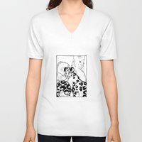 snow leopard V-neck T-shirts featuring Snow Leopard by GlassEyeSpy