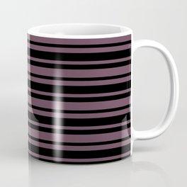 Eggplant Violet and Black Horizontal Var Size Stripes Coffee Mug
