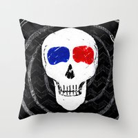 movies Throw Pillows featuring Movies Movies, 'til I Die by Because Skulls