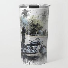 Biker near motorcycle on white Travel Mug