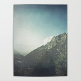Alpine Valley and Mountains in Mist Poster