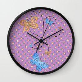 Blue & Gold Butterflies in a Purple Polka Dotted Sky Wall Clock