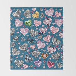 Heart Diamonds are Forever Love Blue Throw Blanket