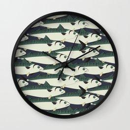 Mackerel fish close up Wall Clock