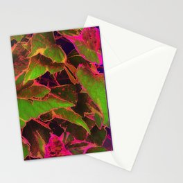 Neon Leaves Stationery Cards