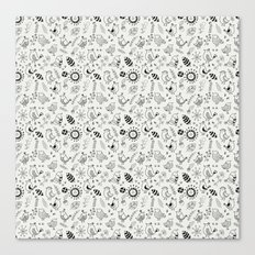 Doodle Birds Seamless Patterns Canvas Print