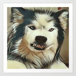 Angry Wolf - Wheres My Coffee ? Art Print