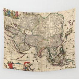 Vintage Map of Asia (1689) Wall Tapestry