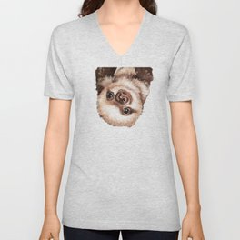 Baby Sloth Unisex V-Neck
