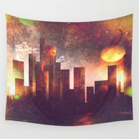 manhattan Wall Tapestries featuring Good night Manhattan by HappyMelvin