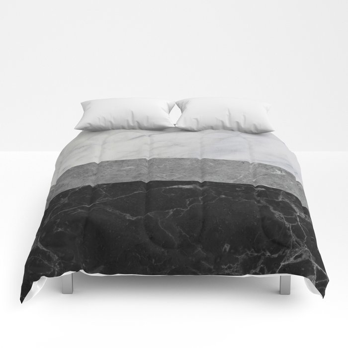 Marble white grey black comforters by calacatta society6 for Black and white marble bedding