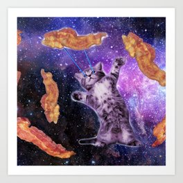 Cat Frying Bacon With Eye Laser                                                   Art Print