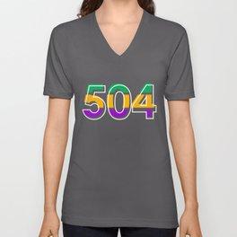 Mardi Gras Vintage 504 Retro Festival Gift Unisex V-Neck