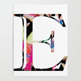 Butterfly Initial 'E' Print Poster
