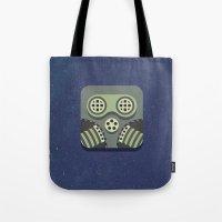 steam punk Tote Bags featuring Steam Punk Mask by Nick Kumbari