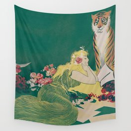 Fantasy Art Deco Woman With Pet Tiger Self culture (edited) - The Werner Company - 1890-1900 Wall Tapestry