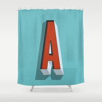 letter Shower Curtains featuring Letter A by INDUR