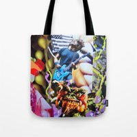 vegetable Tote Bags featuring Vegetable Gremlin by John Turck