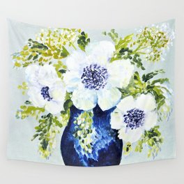 Anemones in vase Wall Tapestry