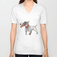 bull terrier V-neck T-shirts featuring Bull Terrier by Paola Canti