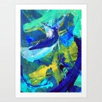 blueprint Art Prints featuring Blueprint by Faye Readman