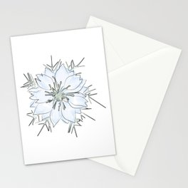 Nigella flower watercolor Stationery Cards