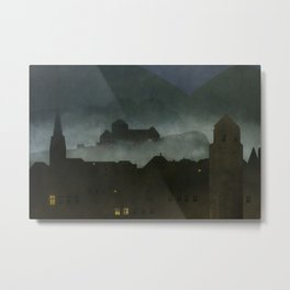small town with castle Metal Print