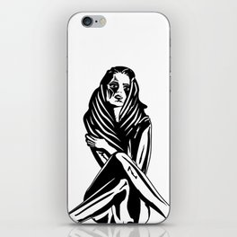 Woman with a tattoo iPhone Skin