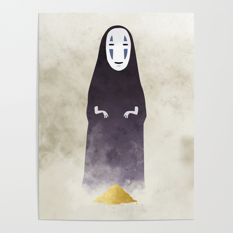 Spirited Away No Face Illustration Miyazaki Studio Ghibli Poster By Lizasou Society6