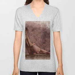 Nude woman watercolor vintage Unisex V-Neck
