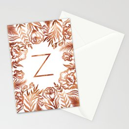 Letter Z - Faux Rose Gold Glitter Flowers Stationery Cards