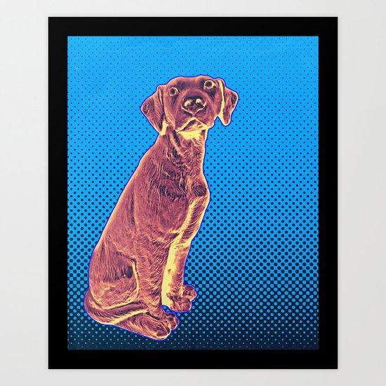 Blue Dog Halftone Print Art Print