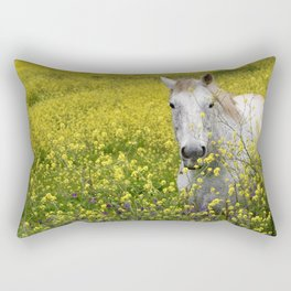 White Horse in a Yellow Pasture Rectangular Pillow