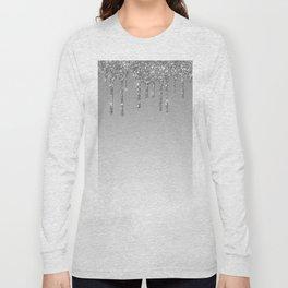 Gray & Silver Glitter Drips Long Sleeve T-shirt