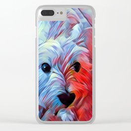 The WESTIE from our POP YOUR POOCH line Clear iPhone Case