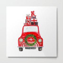 Red Christmas Car - white  Metal Print