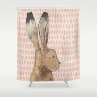 hare Shower Curtains featuring Hare by stephanie cole DESIGN