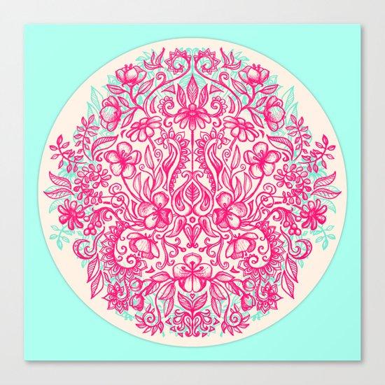Spring Arrangement - floral doodle in pink & mint Canvas Print