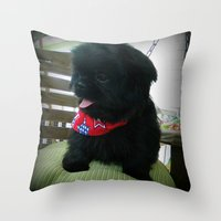 patriotic Throw Pillows featuring Patriotic Pup  by Rainey's View