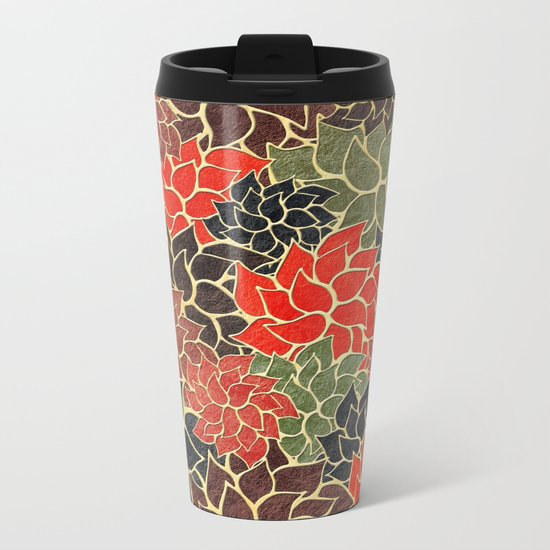 Floral Abstract 17 Metal Travel Mug