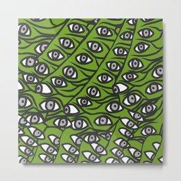 Freddie Eyeballs Avocado Green Metal Print