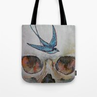 sparrow Tote Bags featuring Sparrow by Michael Creese