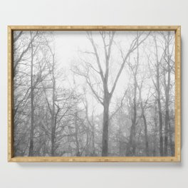 Black and White Forest Illustration Serving Tray