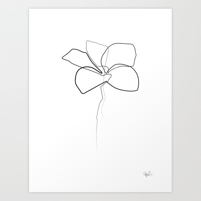 Single Line Drawing Flowers : Oneline frangipani art print by quibe society