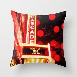 Rainy Night at the Theatre Market Street Redding California Throw Pillow
