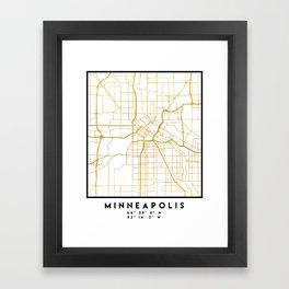 MINNEAPOLIS MINNESOTA CITY STREET MAP ART Framed Art Print